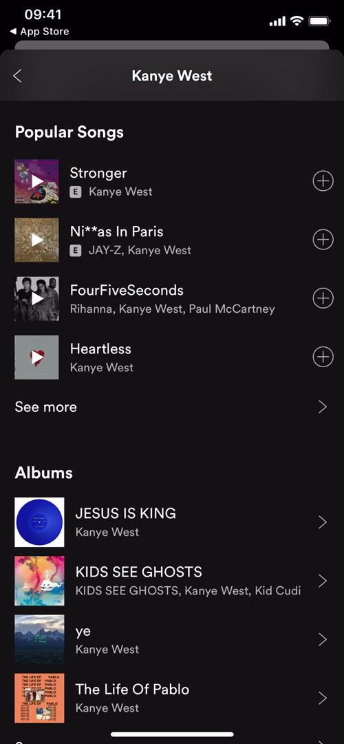 Screenshot of Artist details on Creating a playlist on Spotify user flow