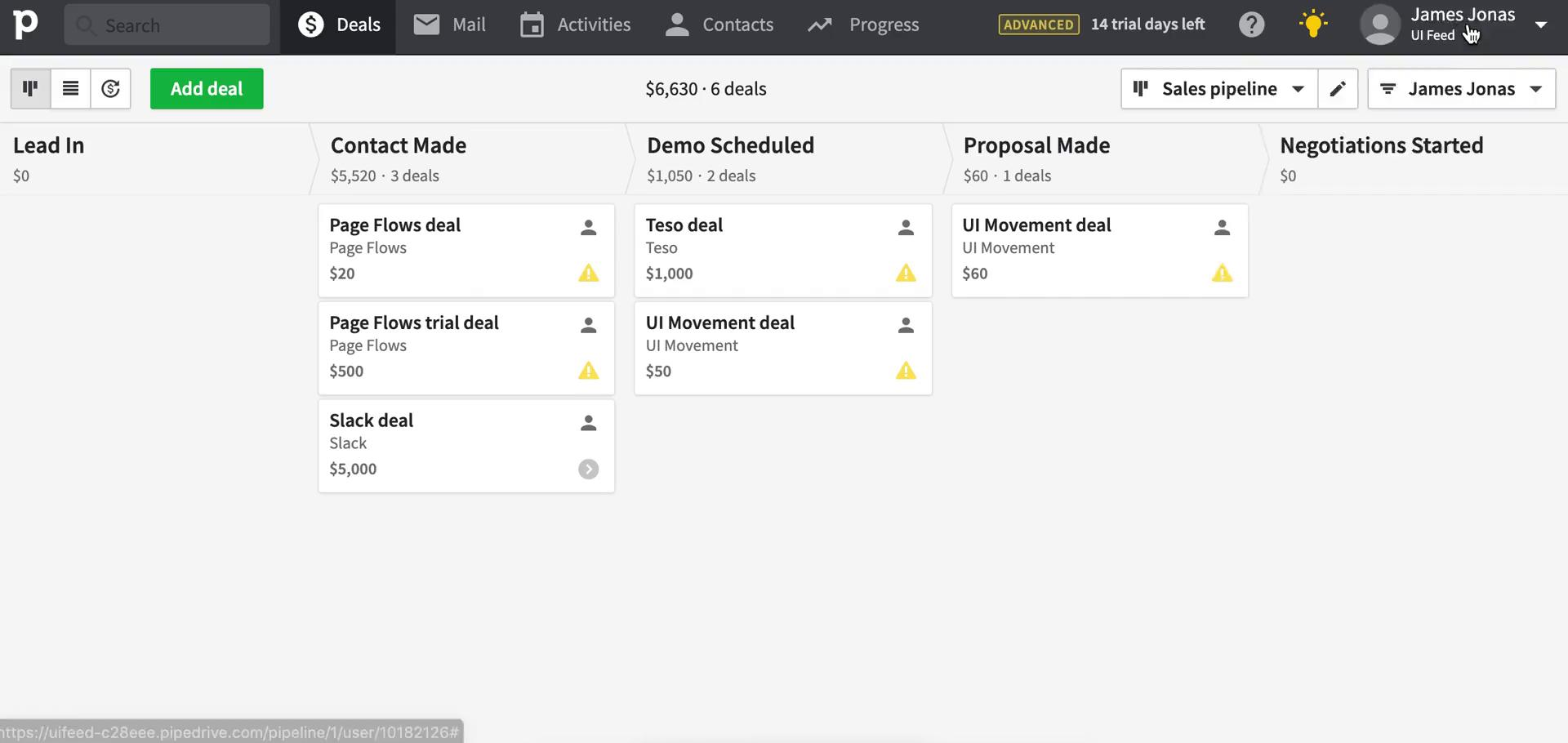 Screenshot of Deals during Creating an automation workflow on Pipedrive user flow