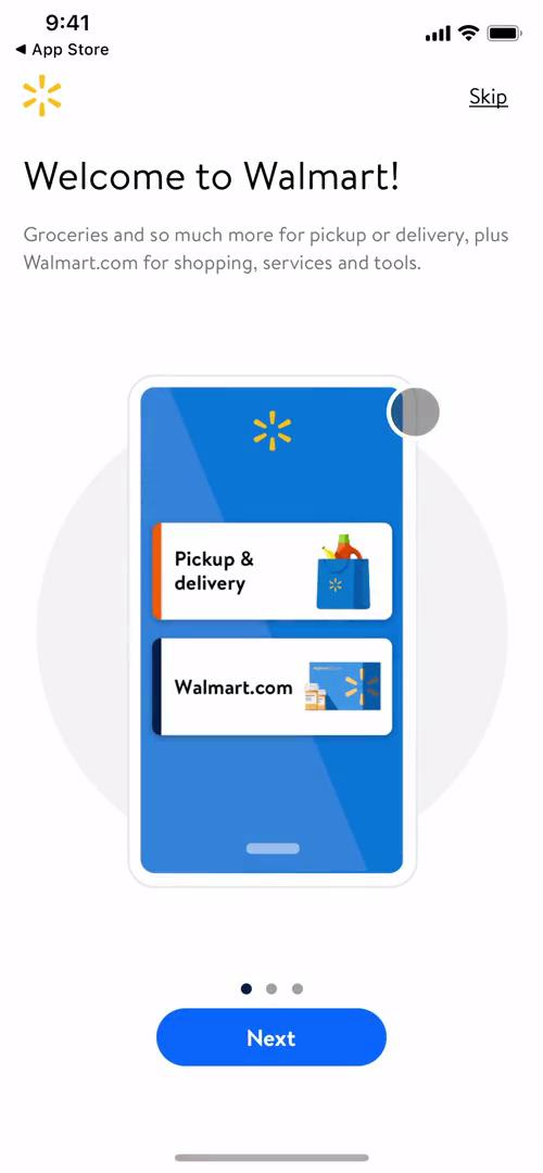Screenshot of Welcome slides on Onboarding on Walmart user flow