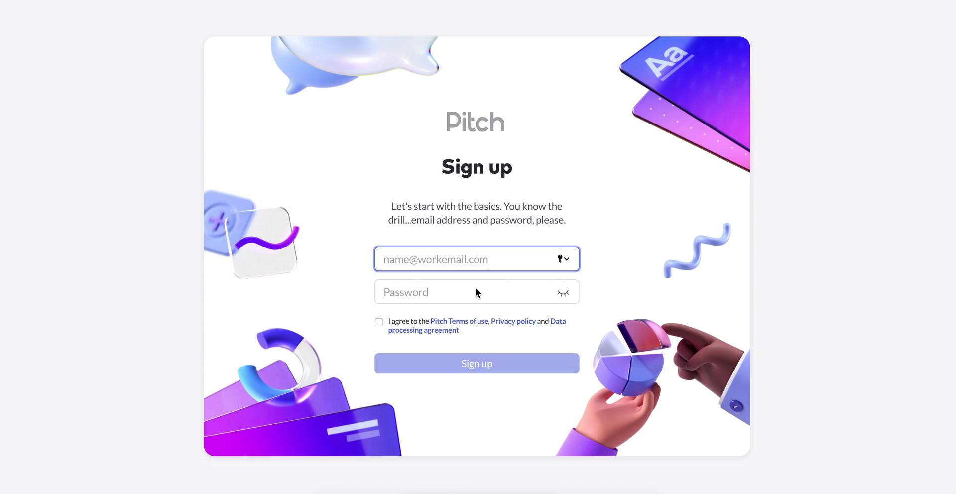 Screenshot of Sign up with email during Accepting an invite on Pitch user flow