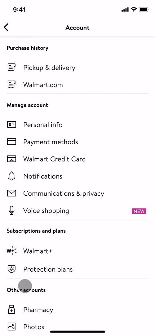 Screenshot of Account settings on Cancelling your subscription on Walmart user flow