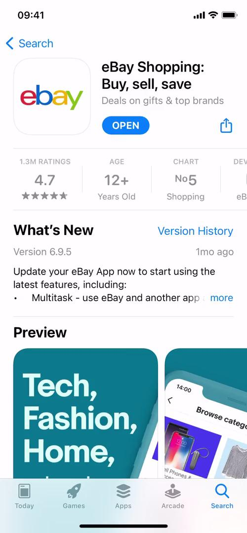 Screenshot of App store listing during Signing up on eBay user flow