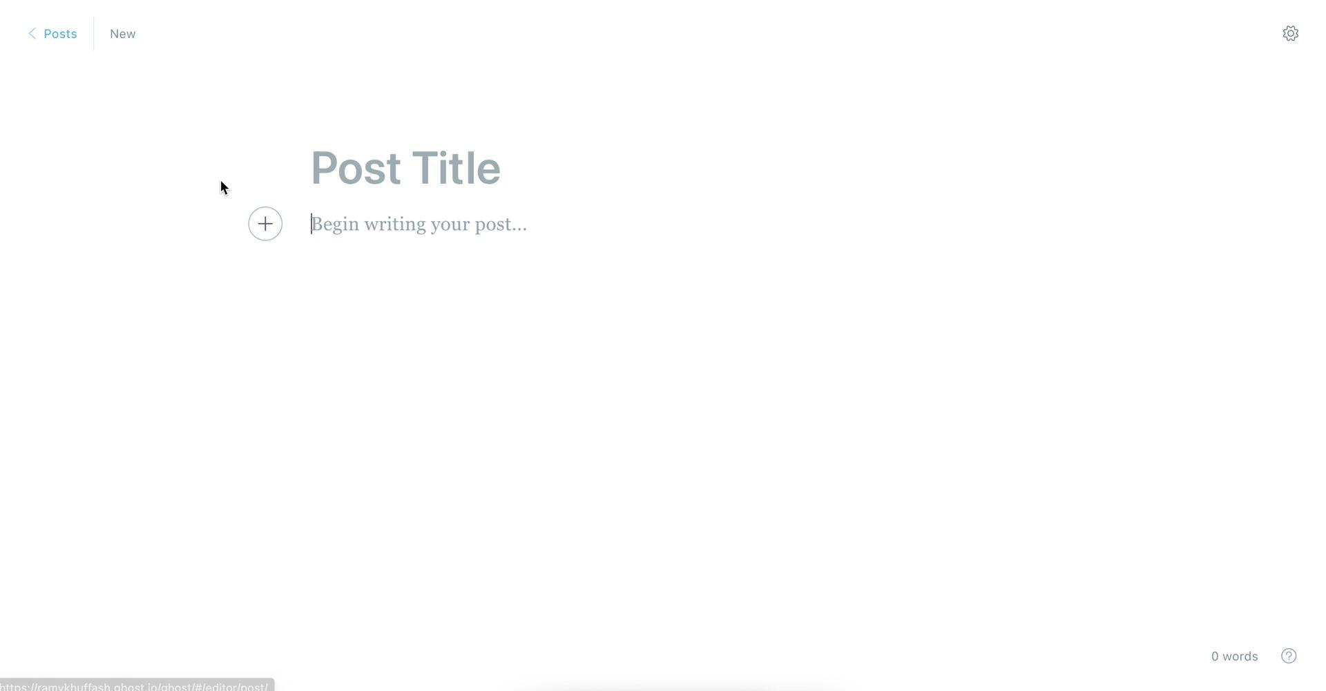 Screenshot of Create post during Creating a post on Ghost user flow