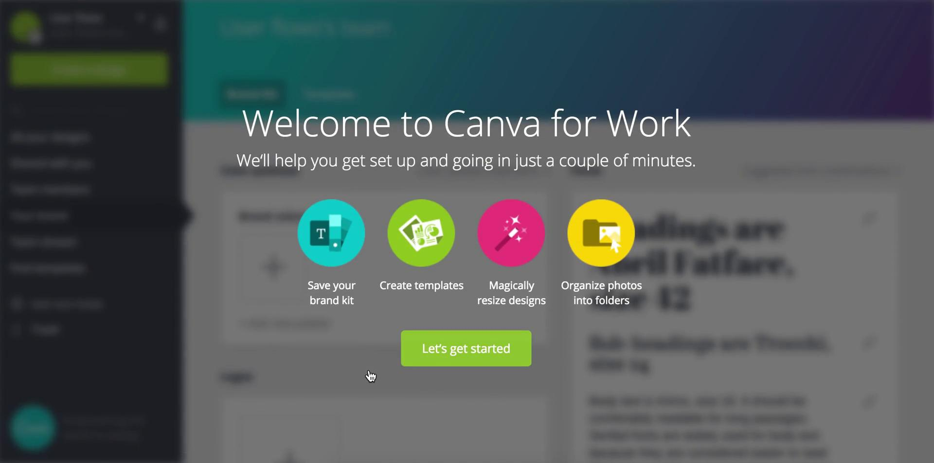 This image shows the new features we get after we upgraded our Canva account