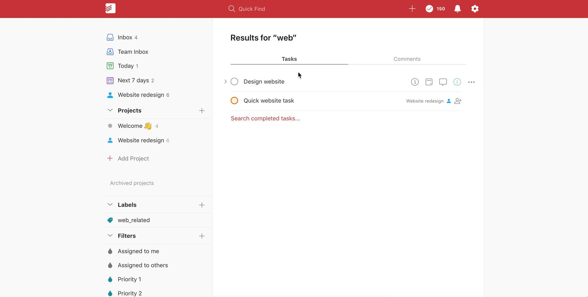 Screenshot of Search results during General browsing on Todoist user flow