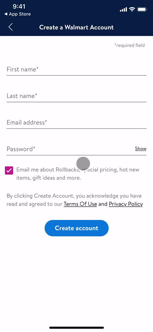 Screenshot of Sign up on Onboarding on Walmart user flow