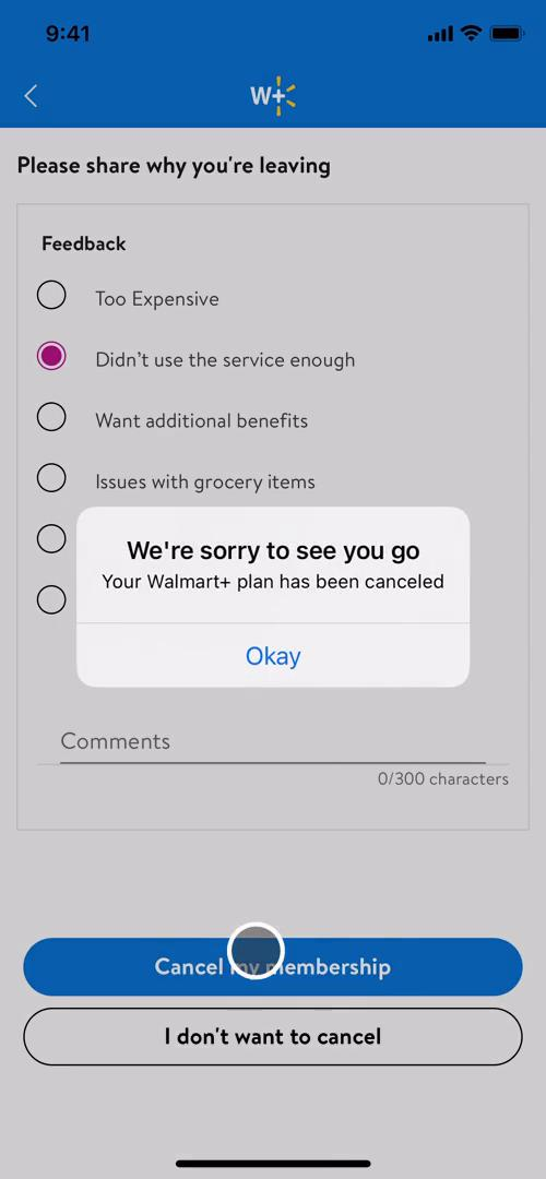 Screenshot of Subscription cancelled on Cancelling your subscription on Walmart user flow