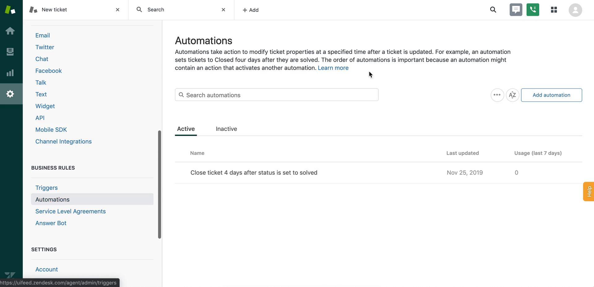 Screenshot of Automations during Creating an automation workflow on Zendesk user flow