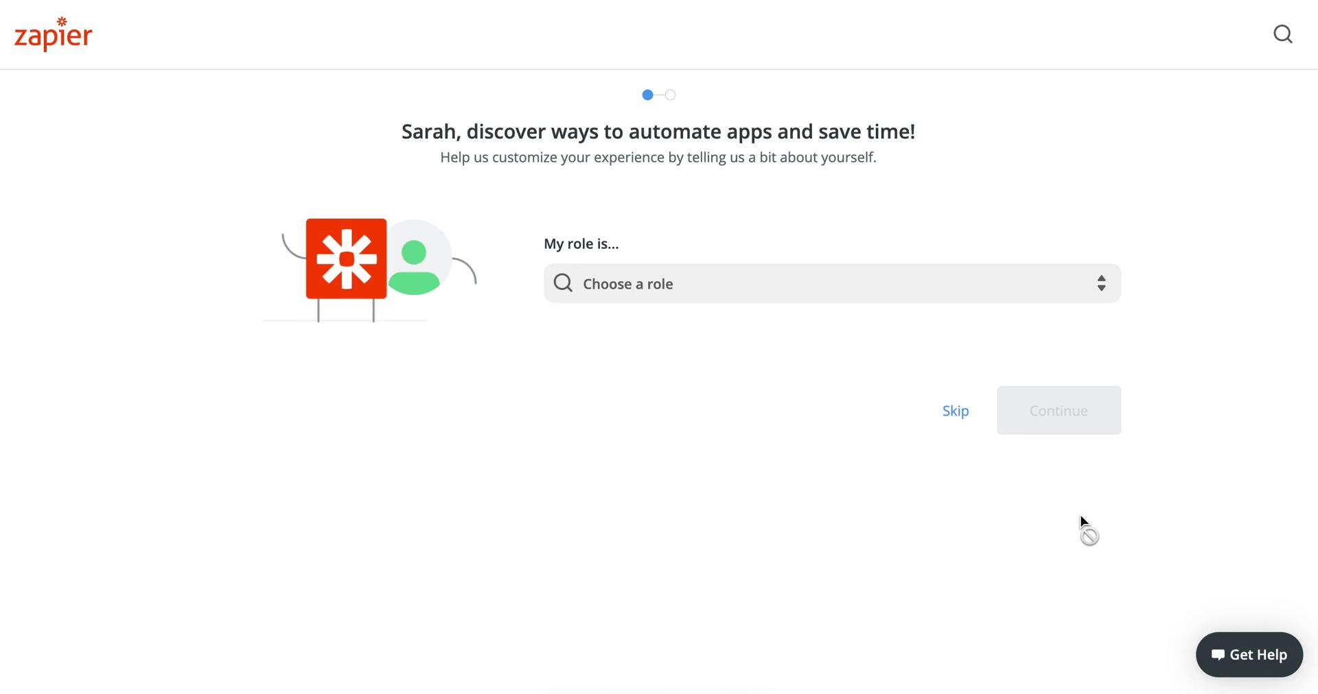 Screenshot of Select role during Onboarding on Zapier user flow