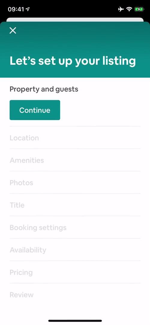 Screenshot of Create listing during Listing a property on Airbnb user flow