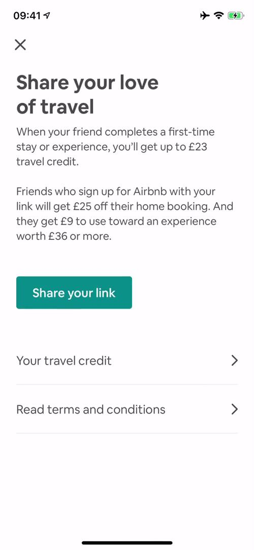 Screenshot of Invite friends during Inviting people on Airbnb user flow