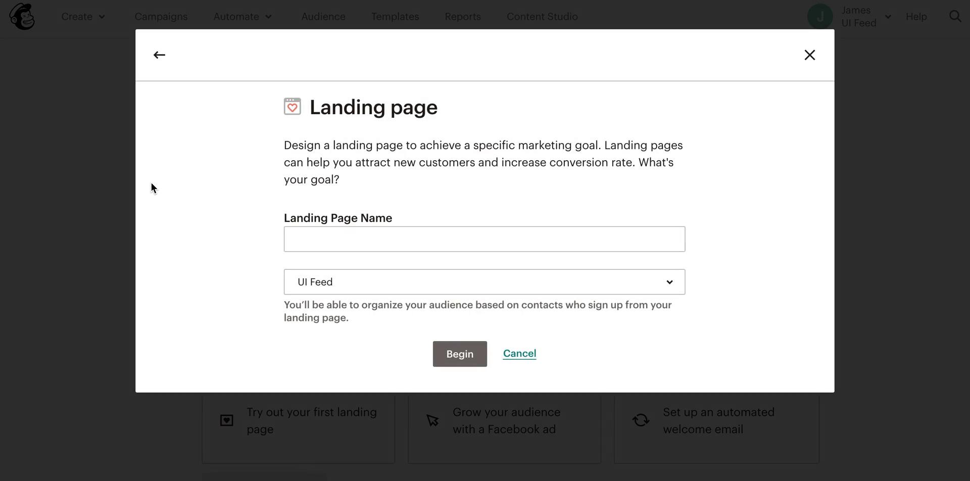 Screenshot of Create landing page during Creating a landing page on Mailchimp user flow