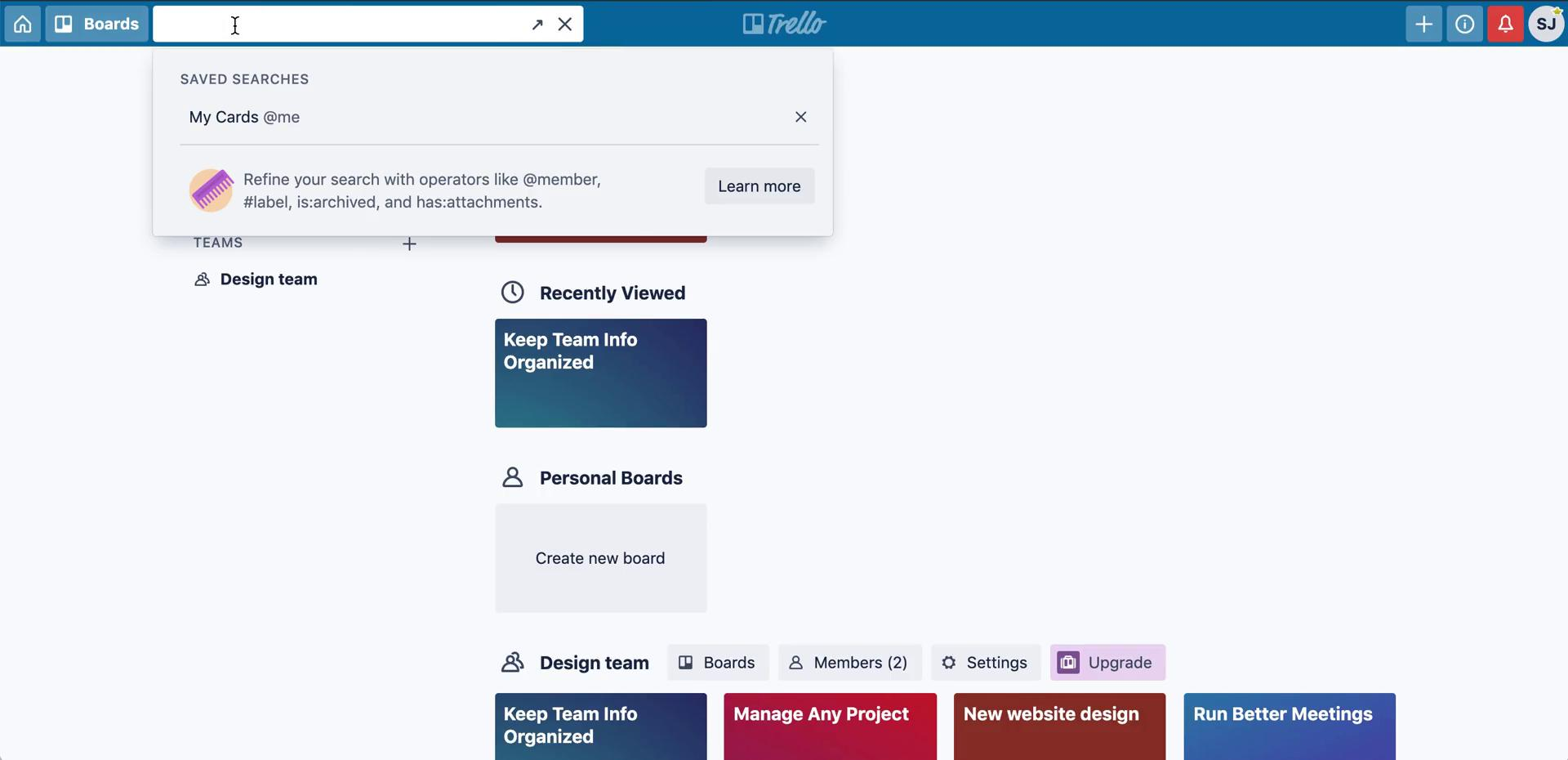 Searching on Trello video screenshot
