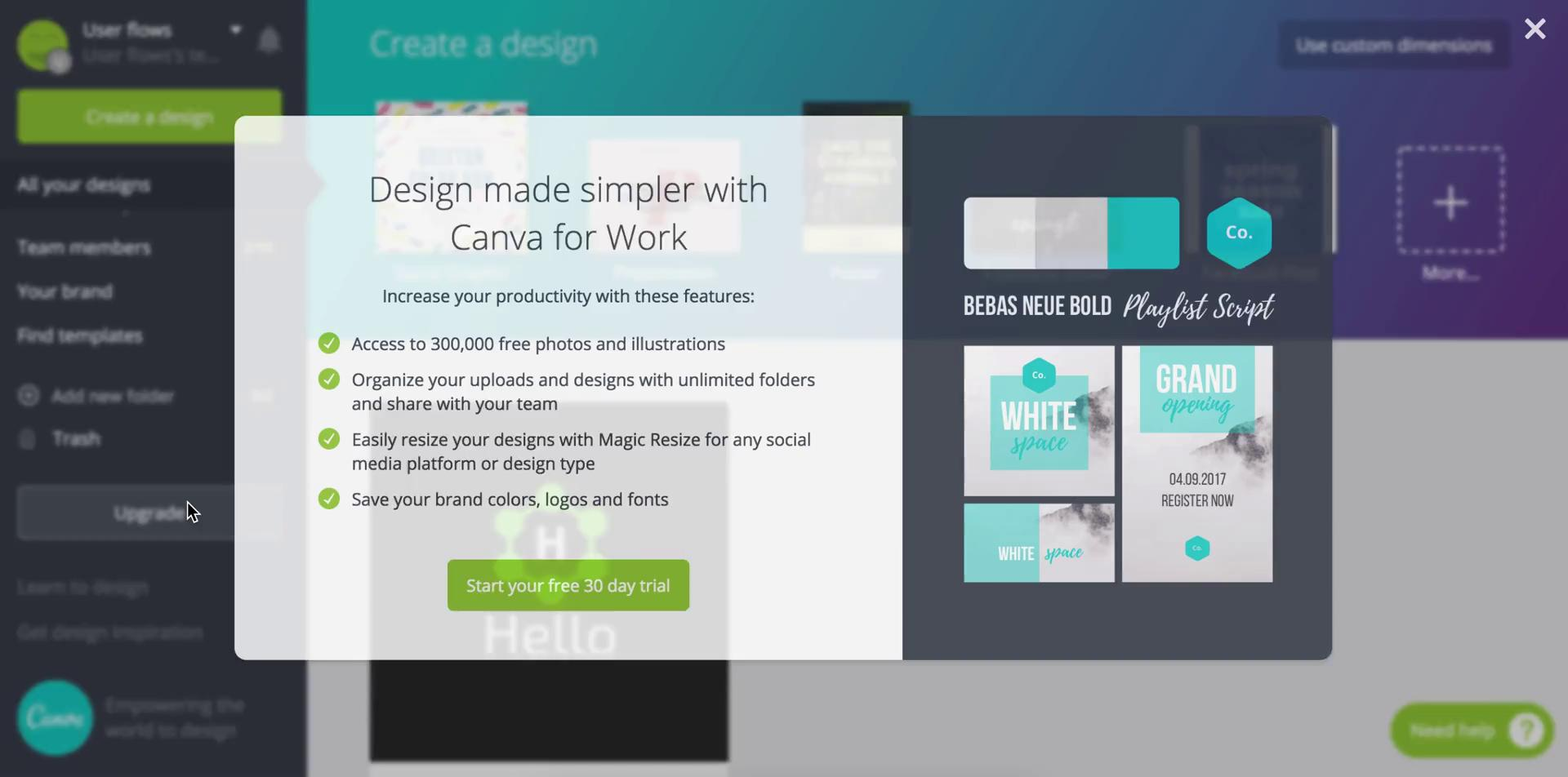 Upgrading your account on Canva video screenshot