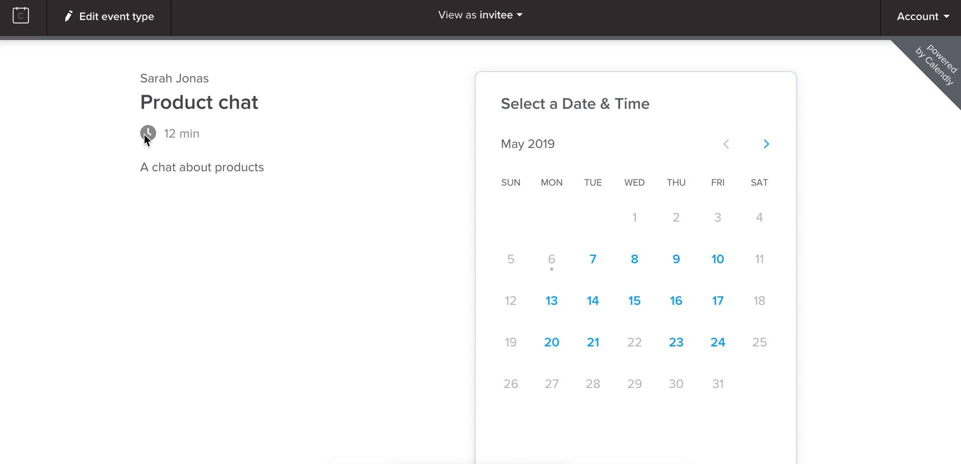 Booking a meeting on Calendly video screenshot