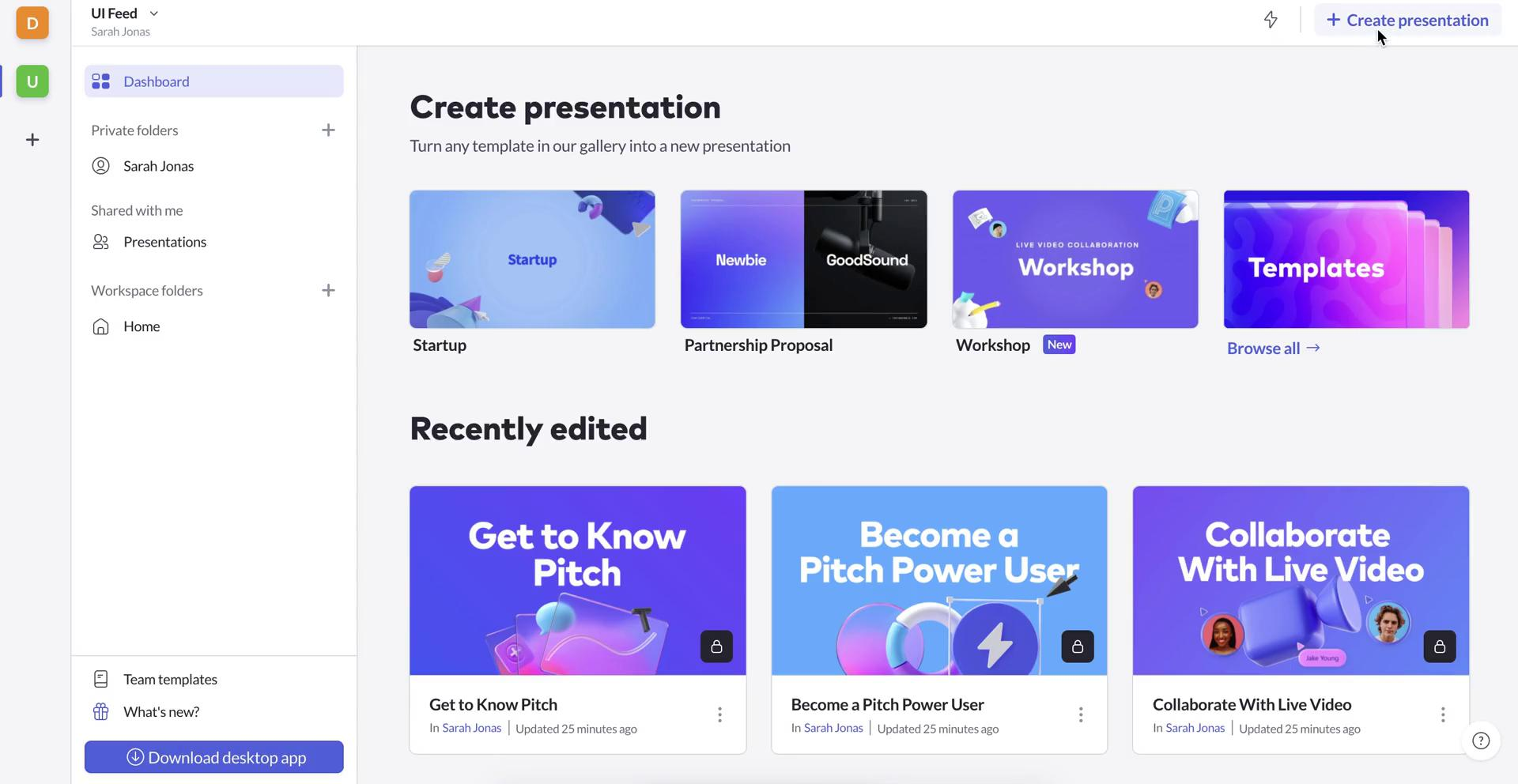 Creating a presentation on Pitch video screenshot