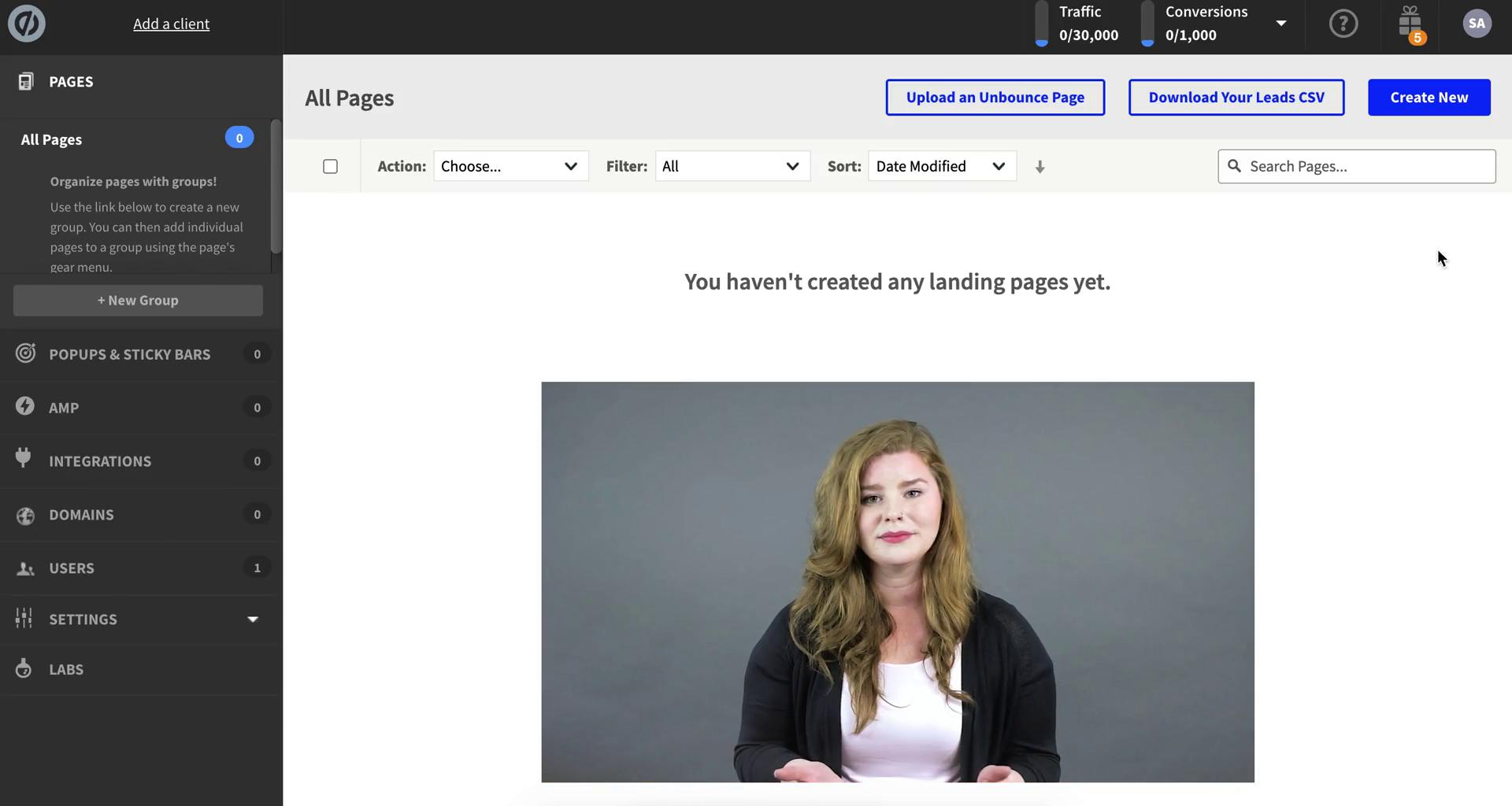 Creating a landing page on Unbounce video screenshot