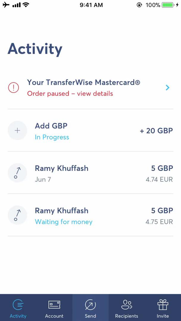 Adding a contact on TransferWise video screenshot