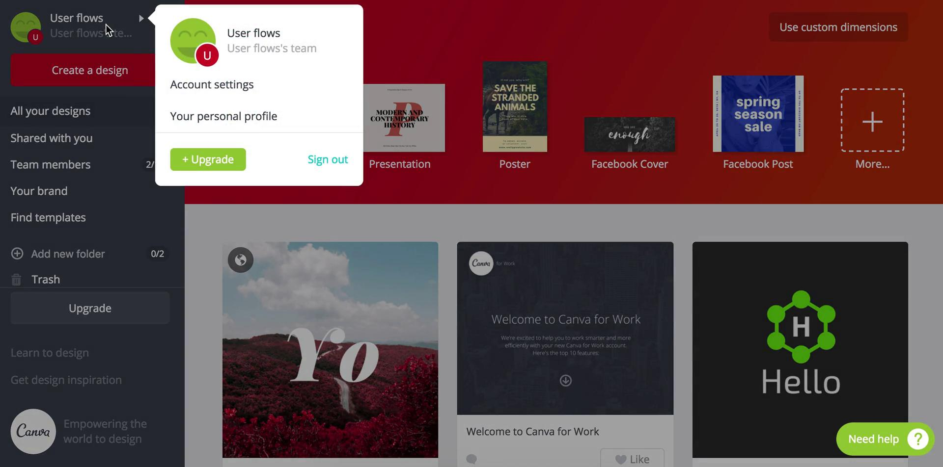 Settings on Canva video screenshot