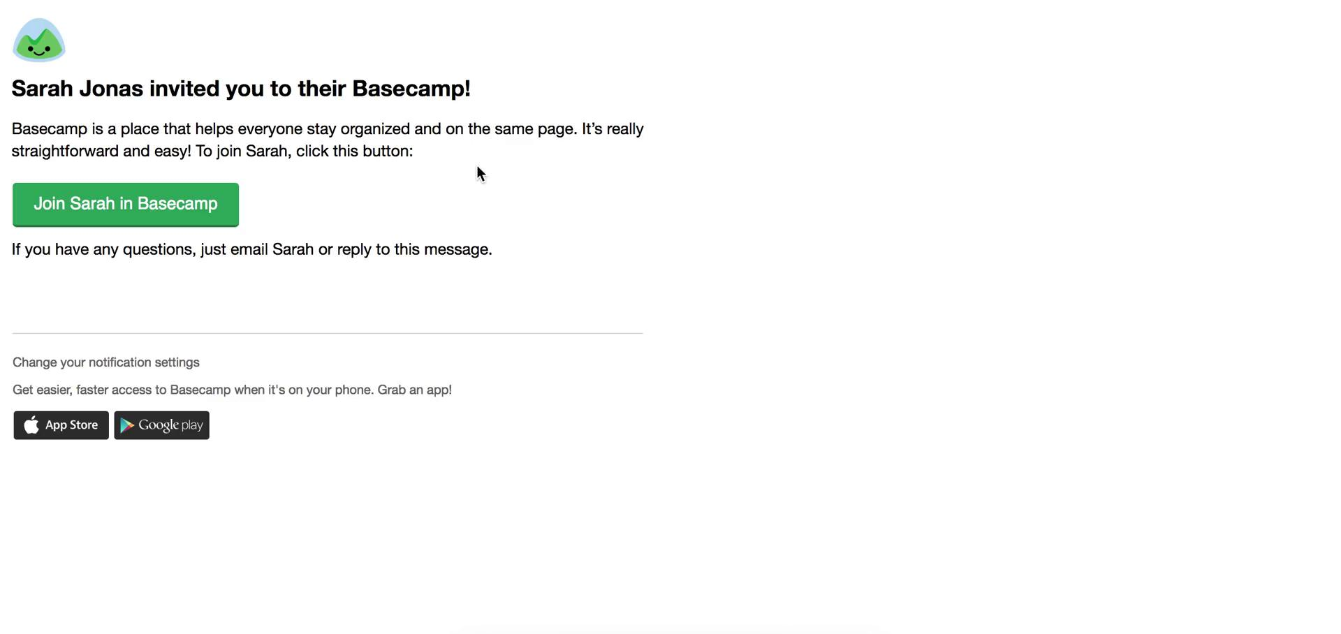 Accepting an invite on Basecamp video screenshot