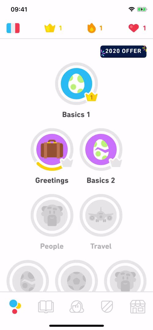 In-app purchases on Duolingo video screenshot