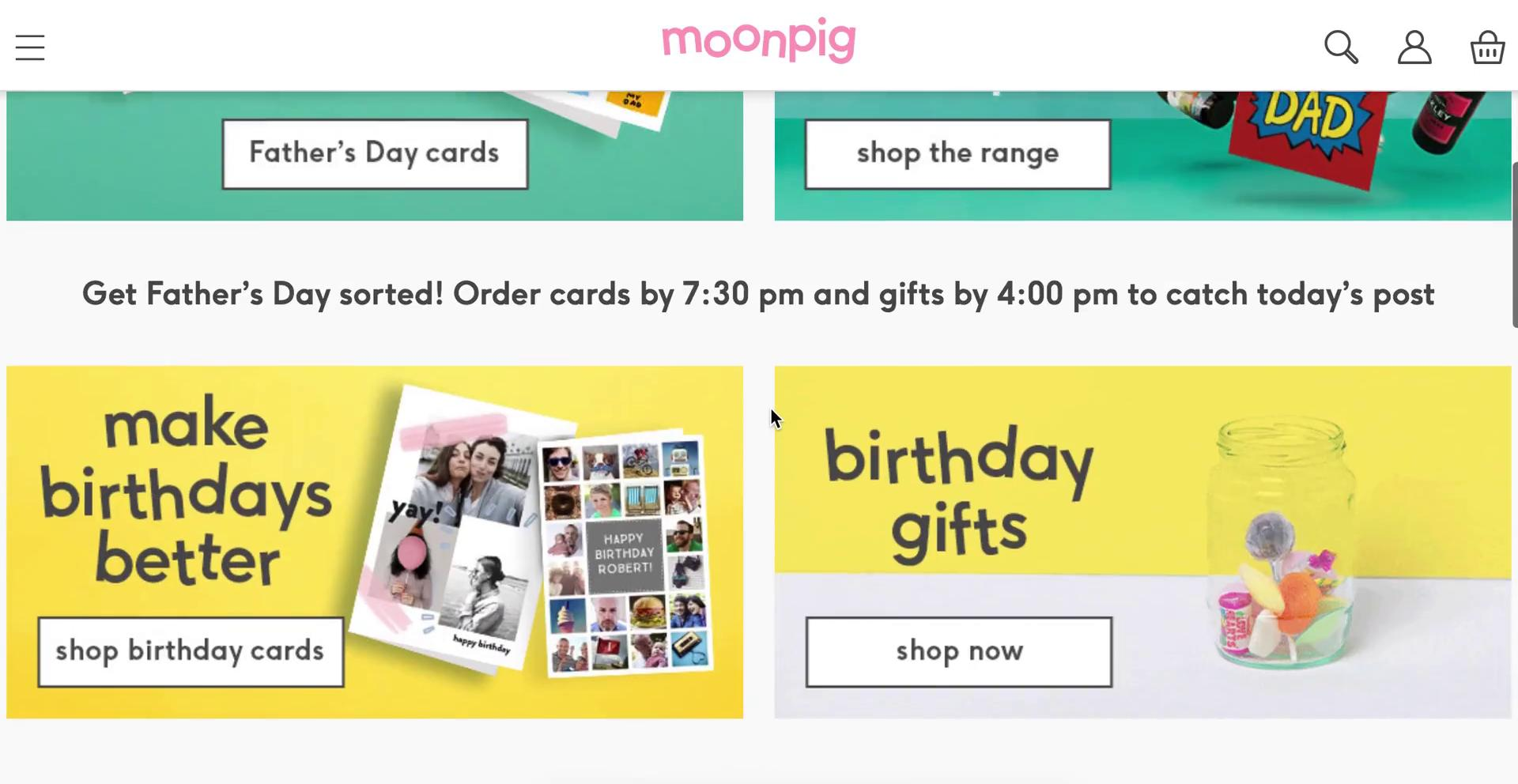Buying something on Moonpig video screenshot