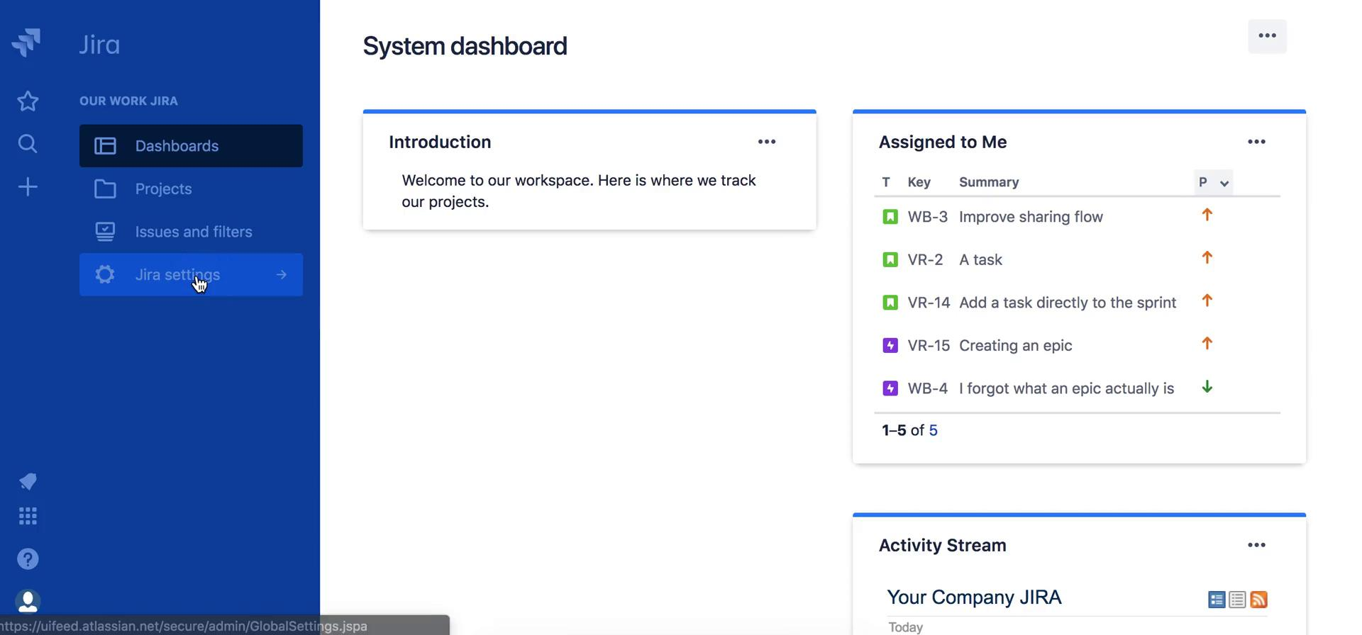 Customization settings on Jira video screenshot