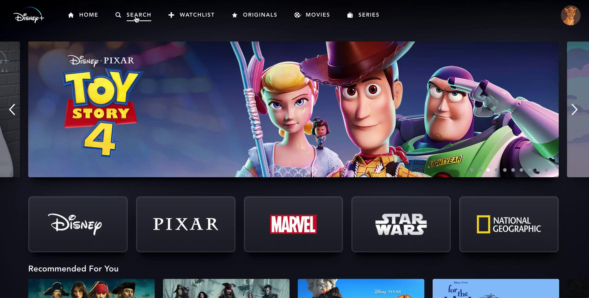 Searching on Disney+ video screenshot