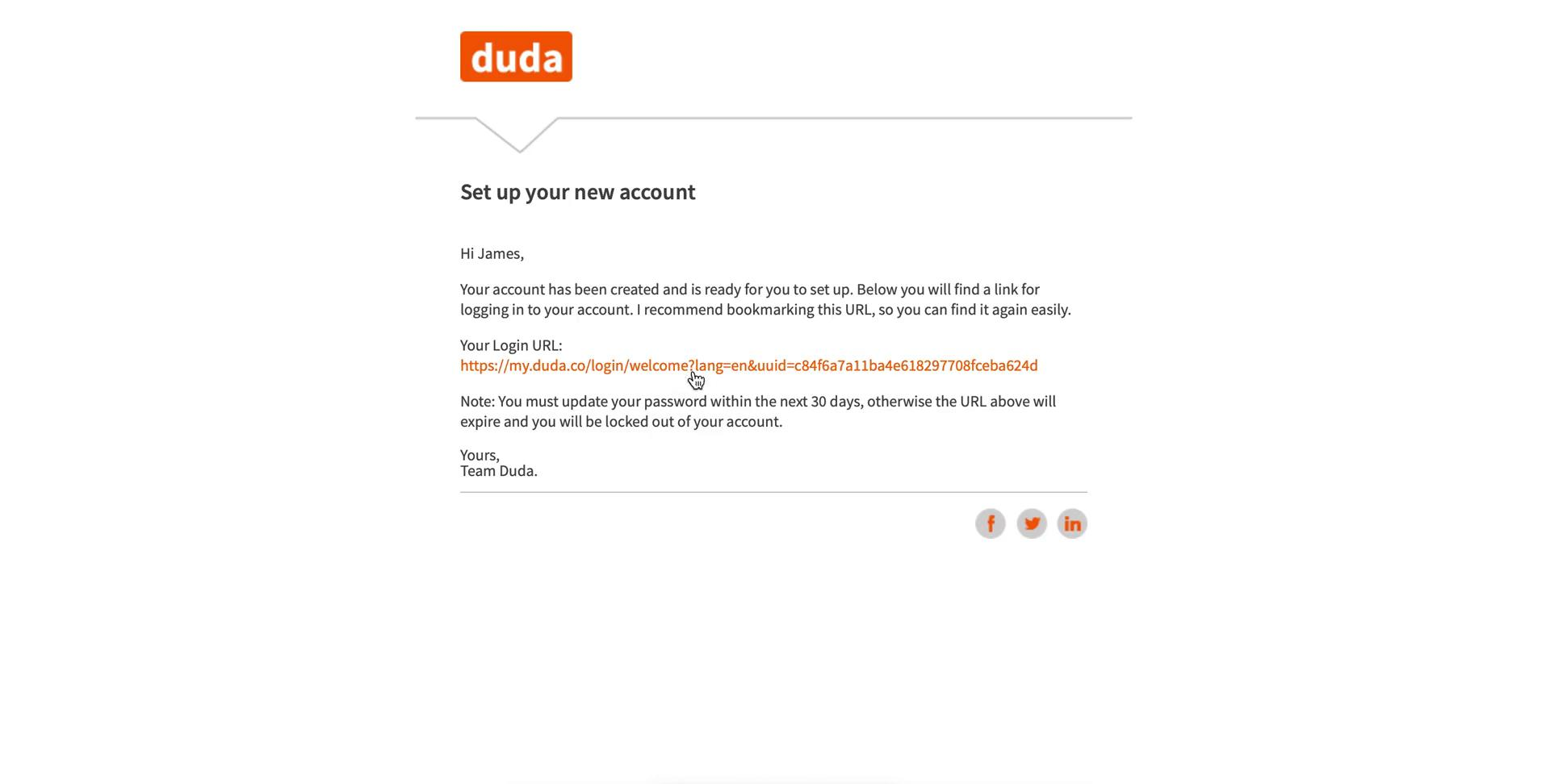 Accepting an invite on Duda video screenshot