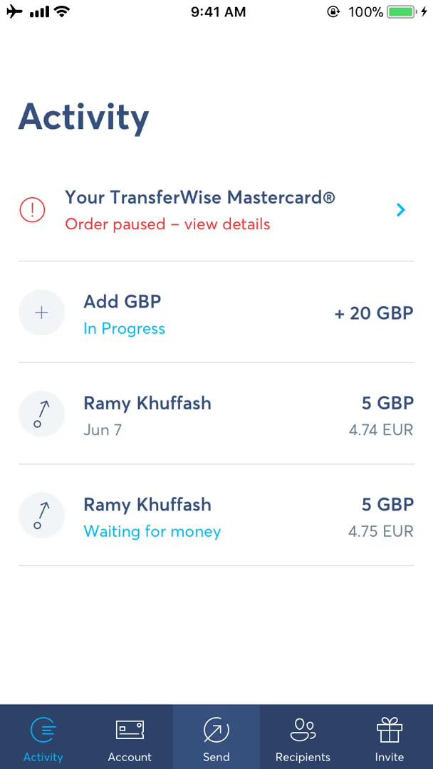 Activity feed on TransferWise video screenshot
