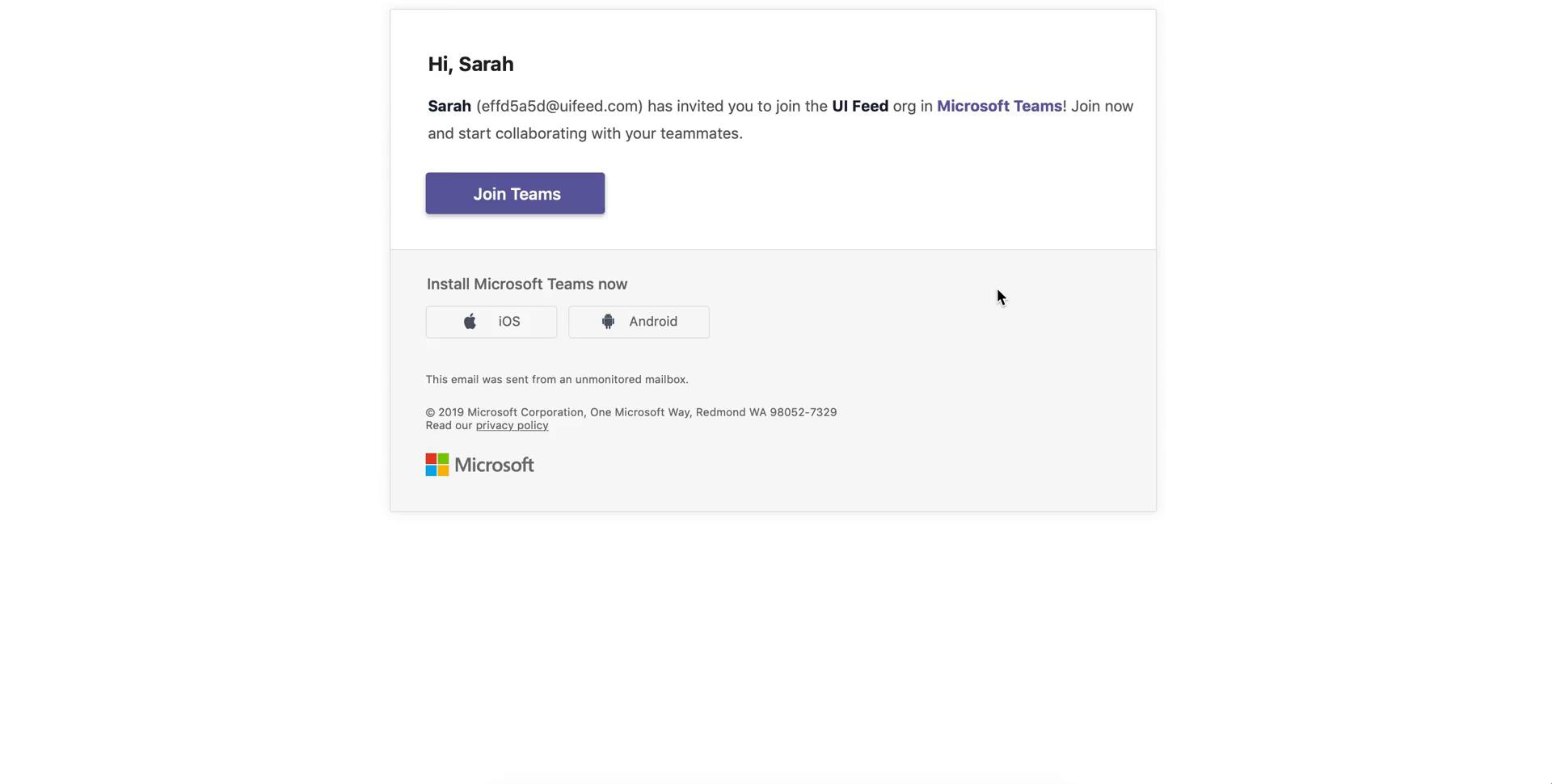 Accepting an invite on Microsoft Teams video screenshot