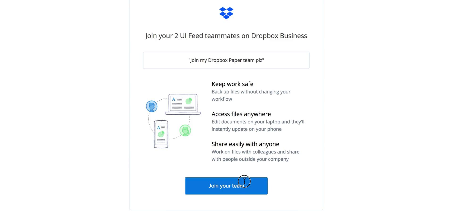 Accepting an invite on Dropbox Paper video screenshot