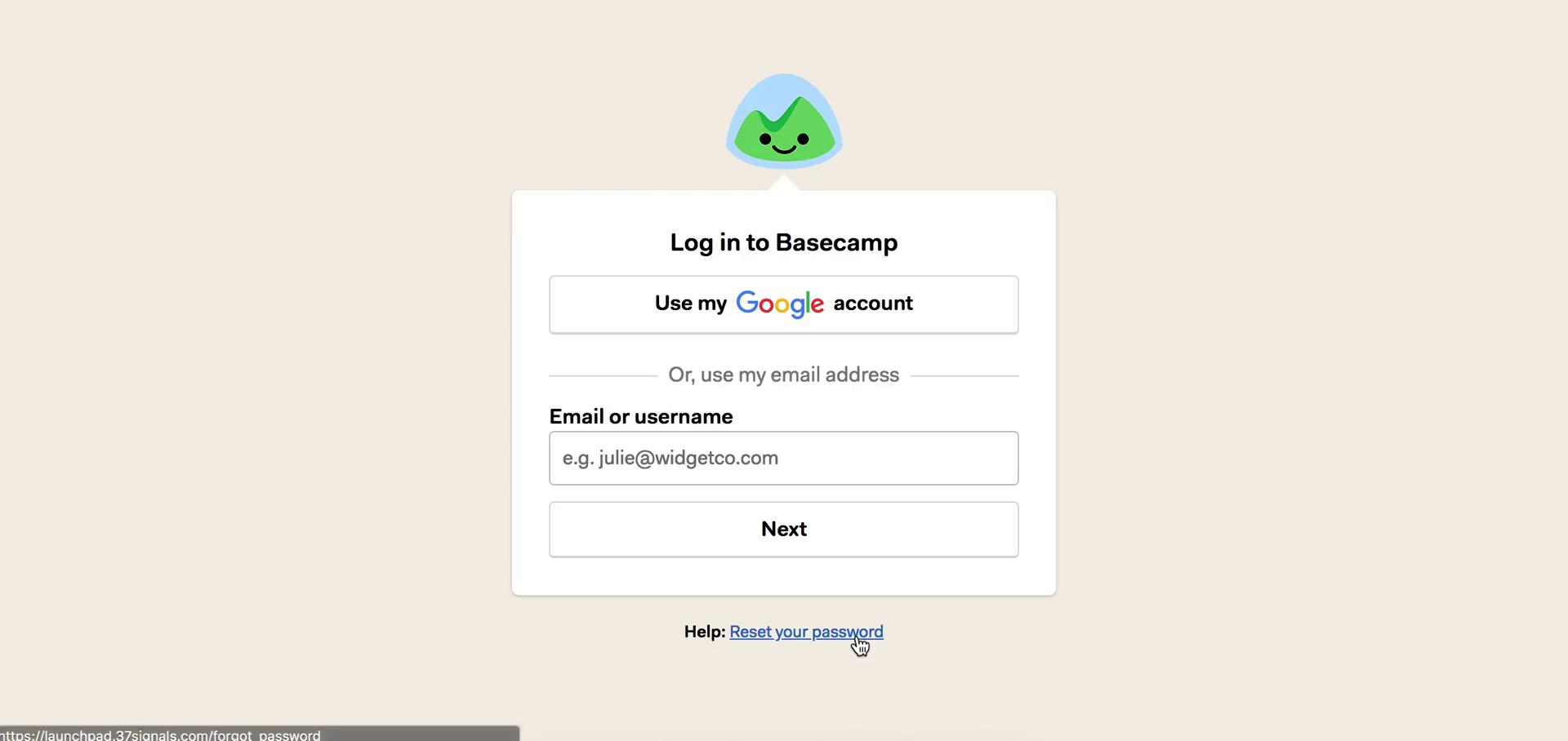 Password reset on Basecamp video screenshot