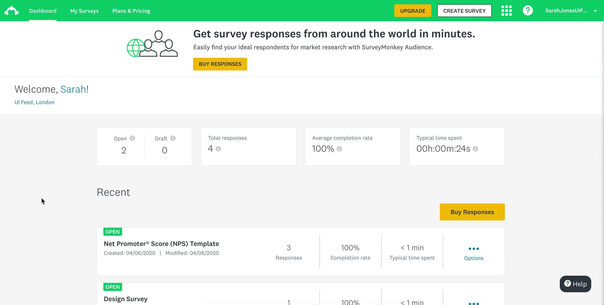 Analytics/Stats on SurveyMonkey video screenshot