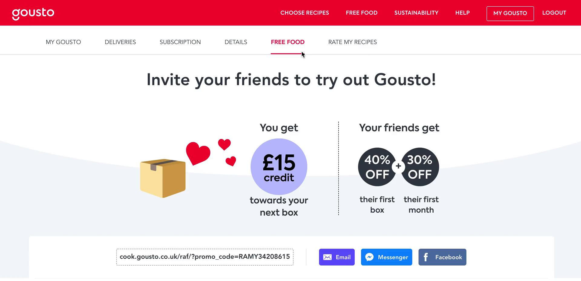 Inviting people on Gousto video screenshot