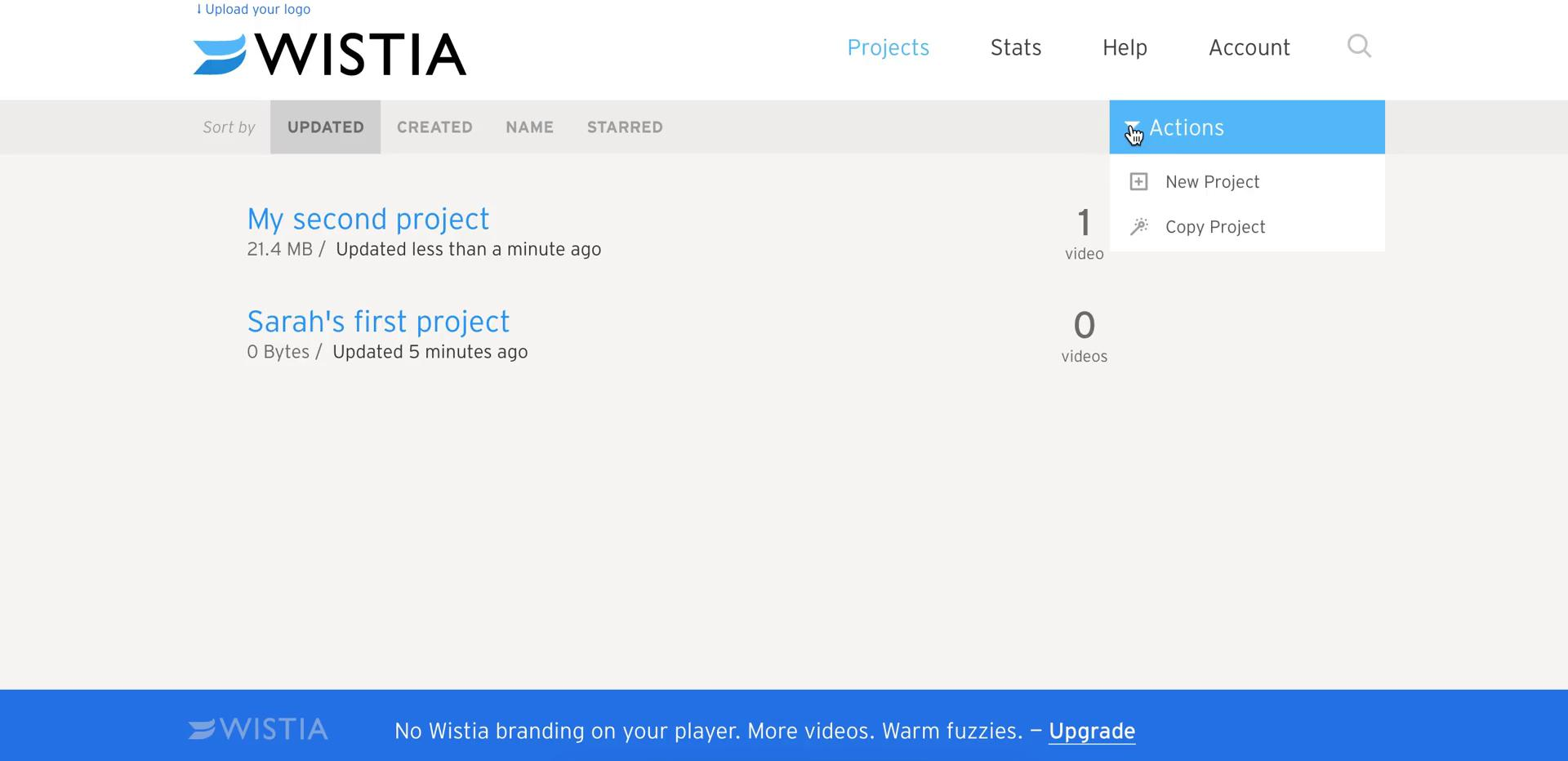 Creating a project on Wistia video screenshot