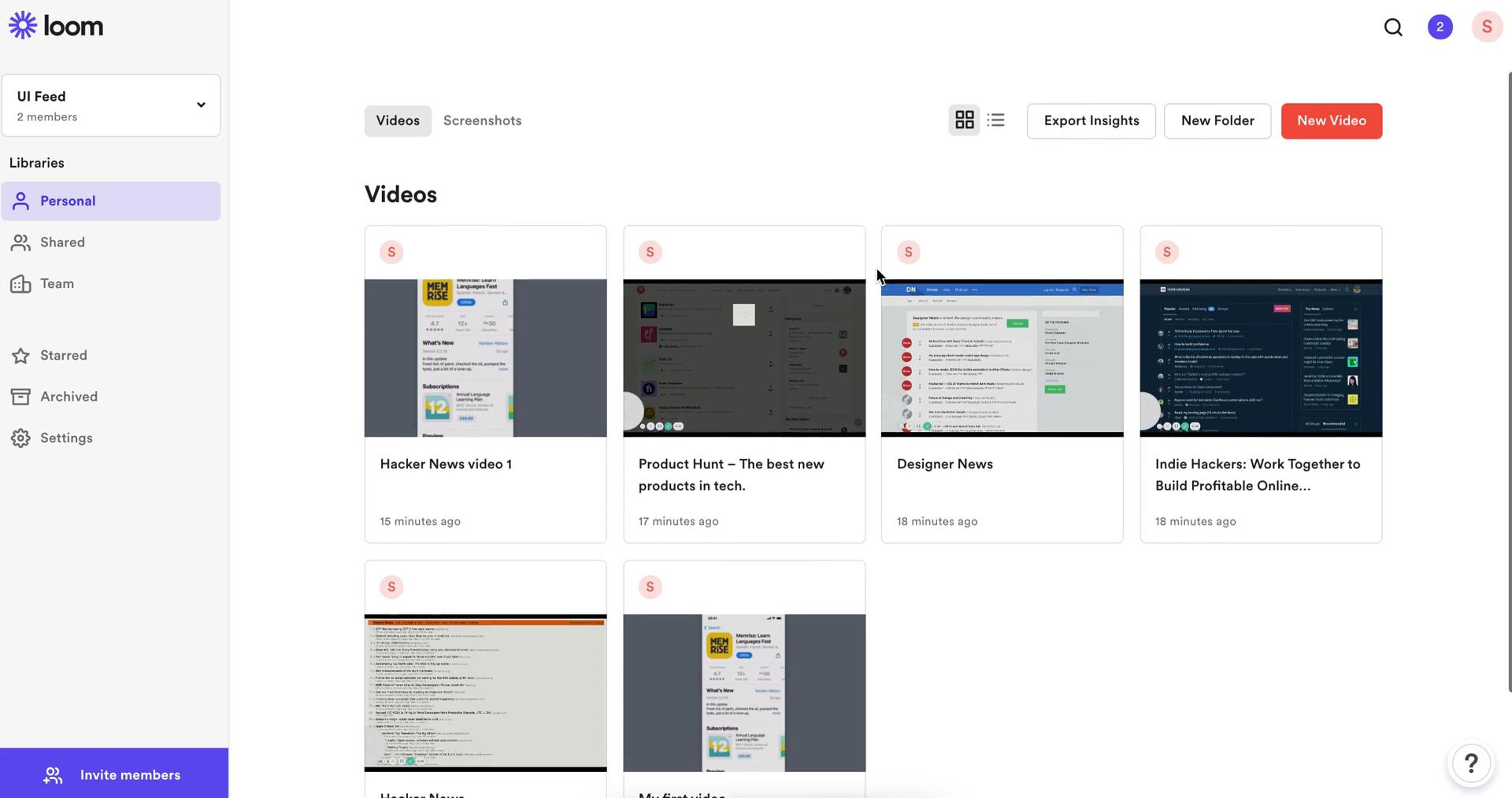 Managing files on Loom video screenshot