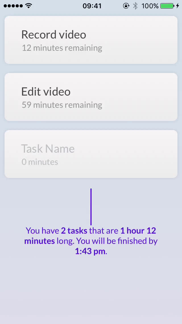 Creating a task on Time video screenshot