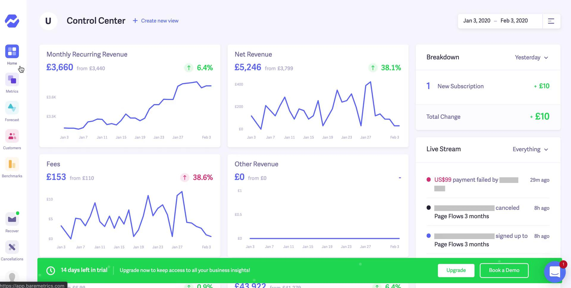 Analytics/Stats on Baremetrics video screenshot