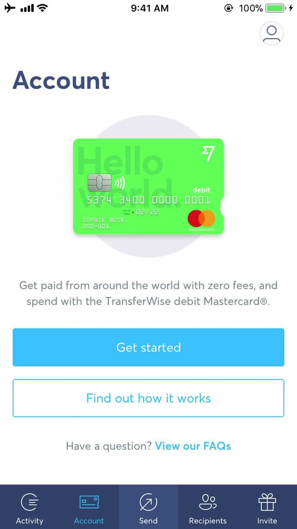 Applying for a bank account on TransferWise video screenshot