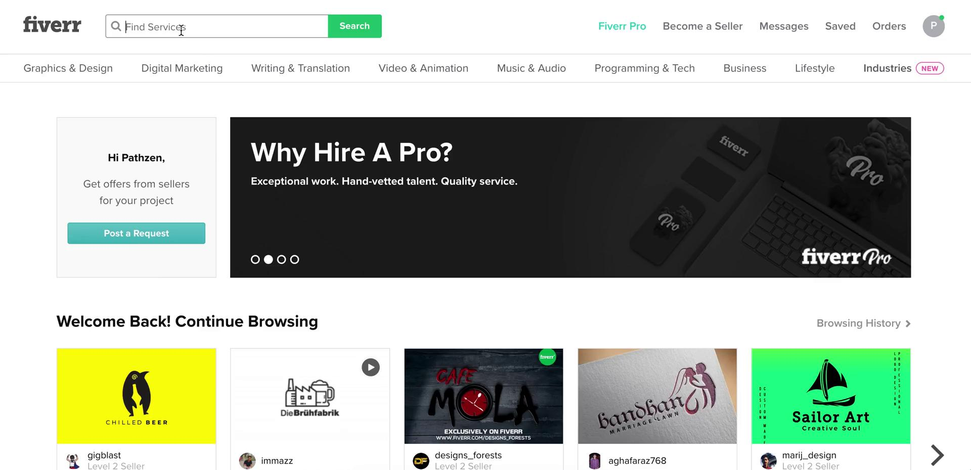 Searching on Fiverr video screenshot
