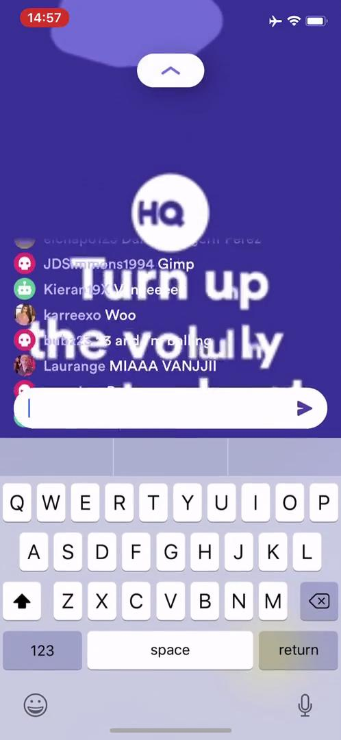 Playing on HQ Trivia video screenshot