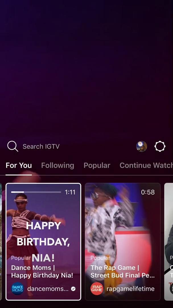 Searching on IGTV video screenshot