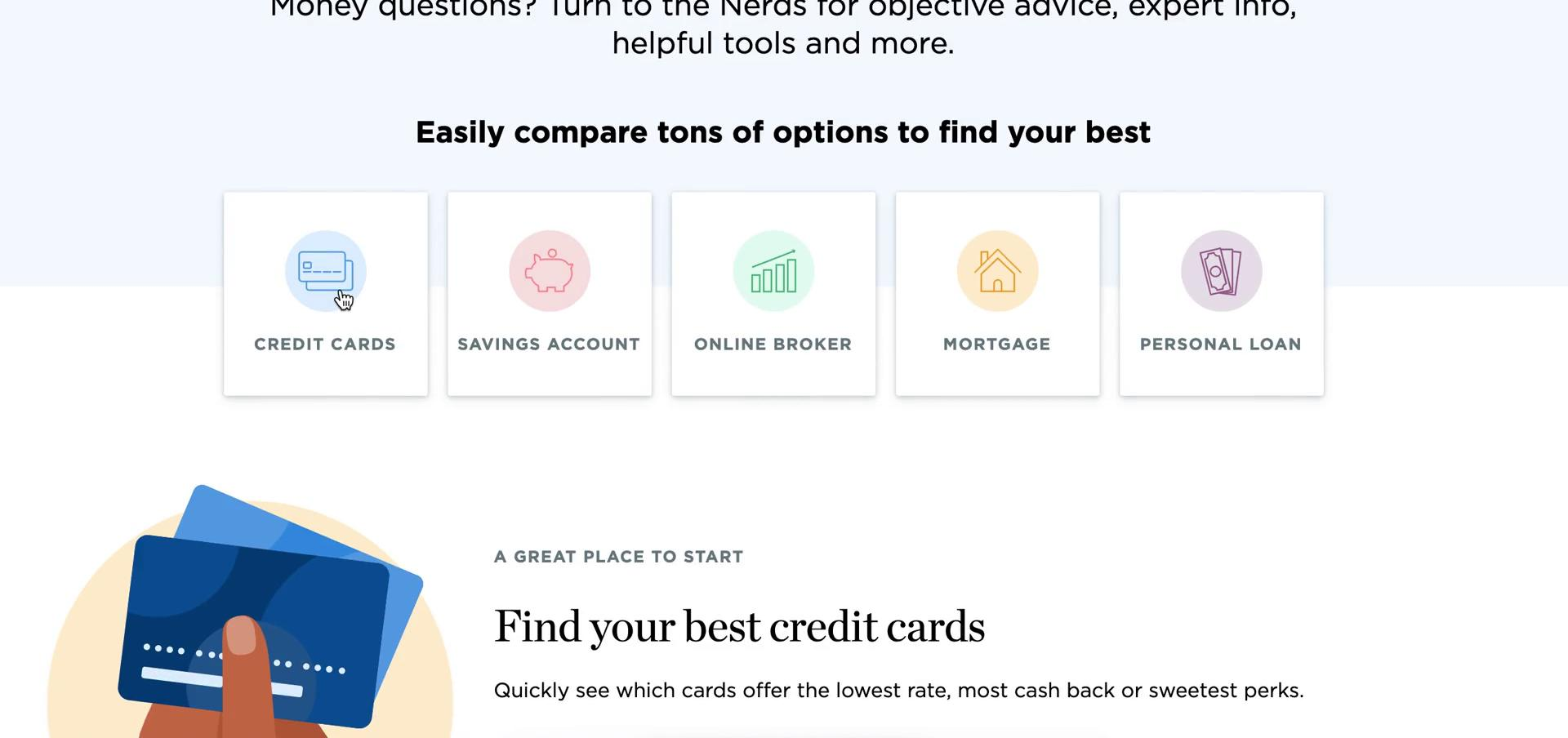 Comparing products on NerdWallet video screenshot