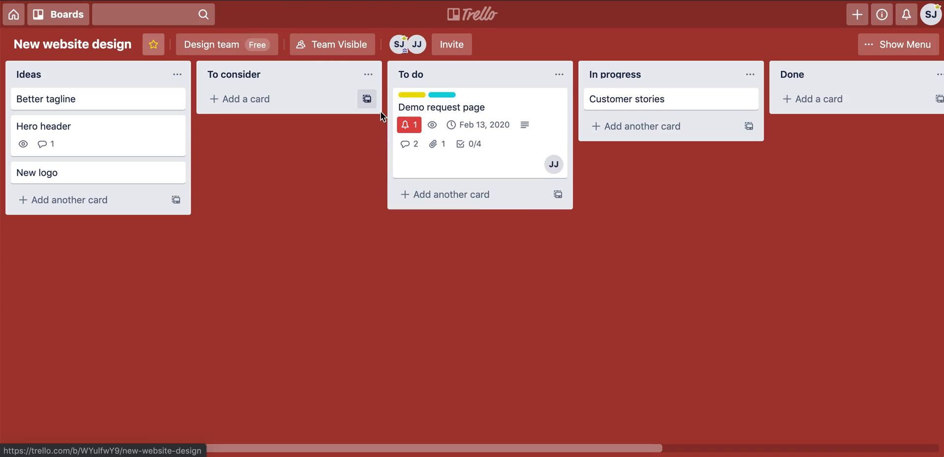 Activity feed on Trello video screenshot