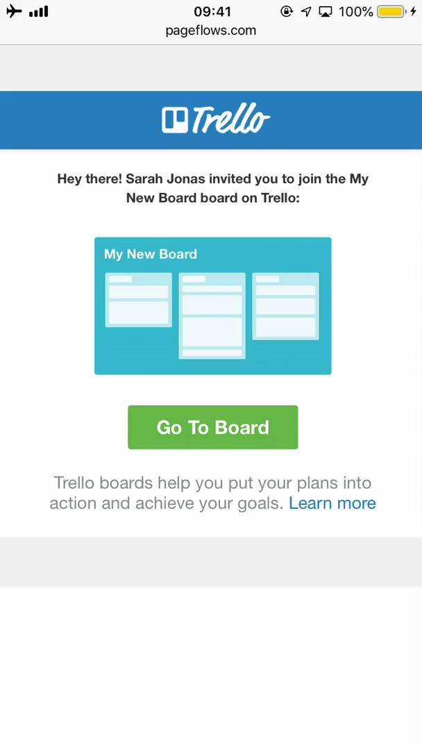 Accepting an invite on Trello video screenshot