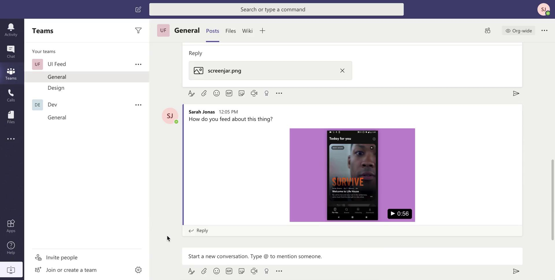 Chat on Microsoft Teams video screenshot