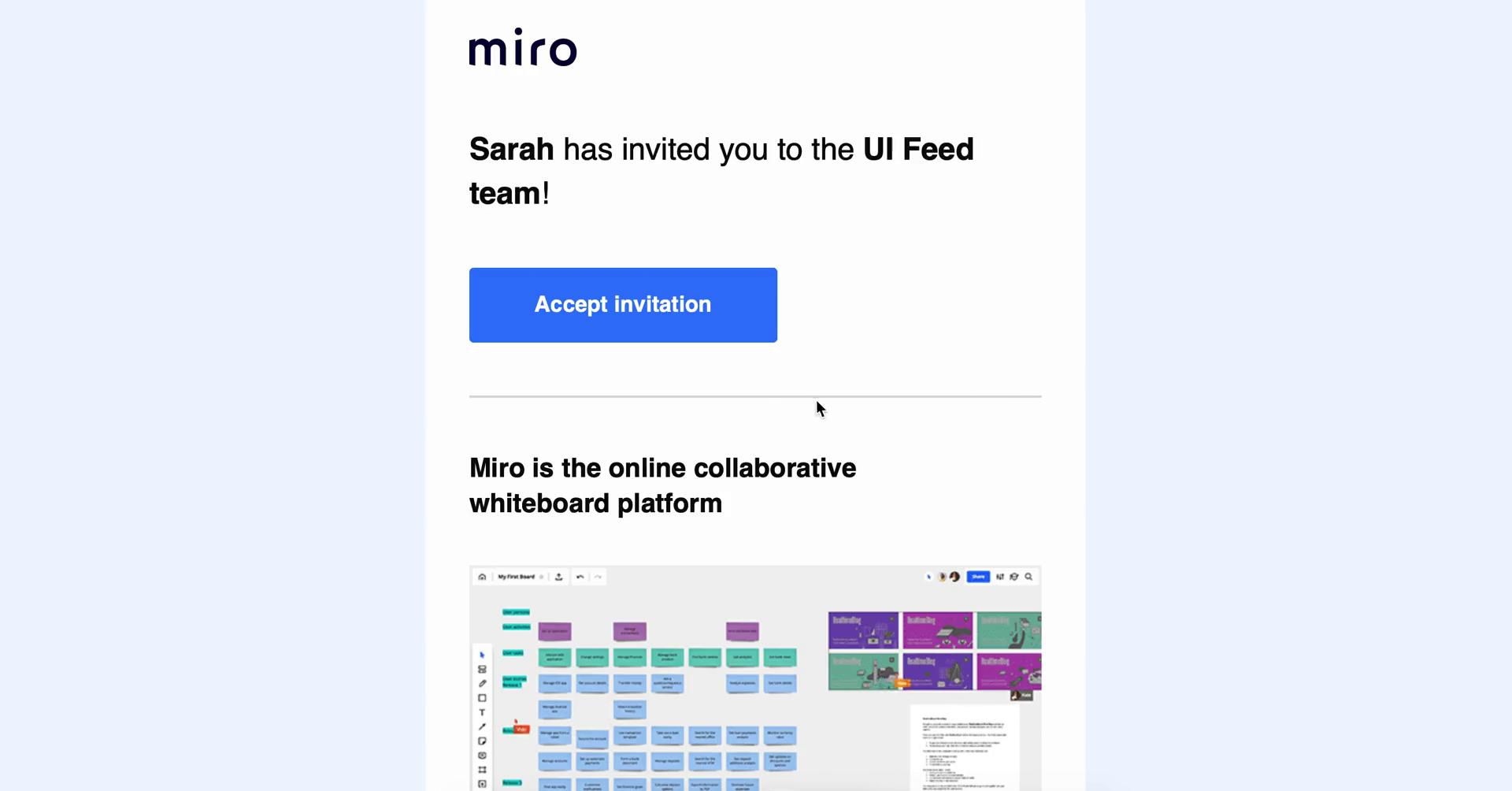 Accepting an invite on Miro video screenshot