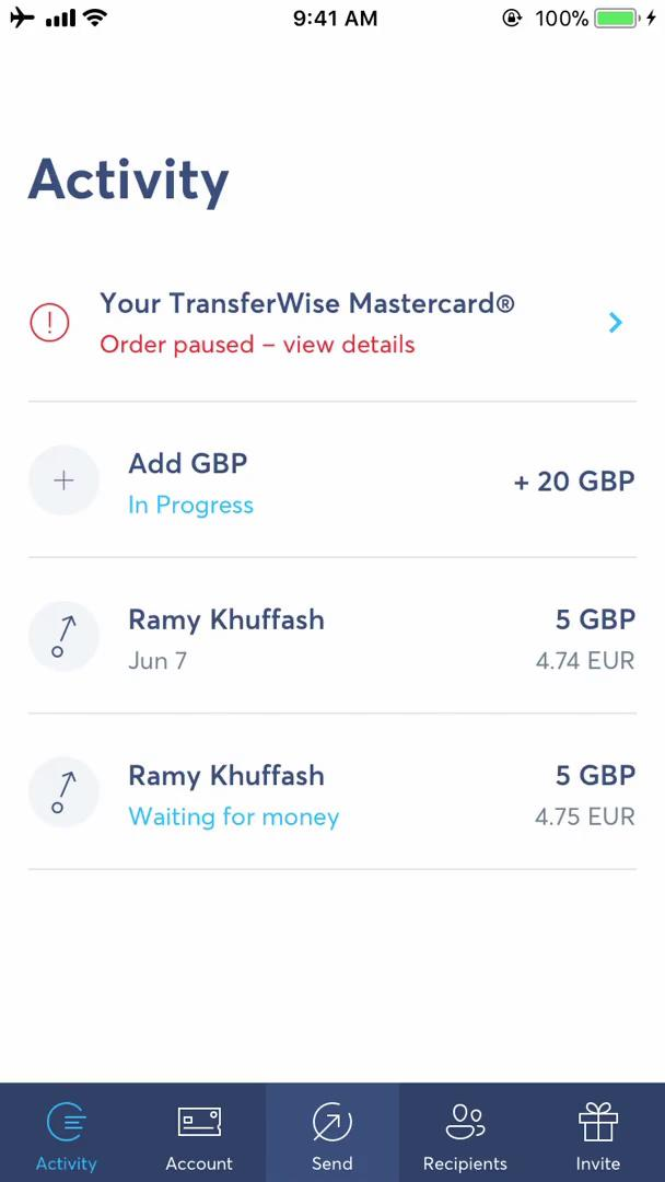 Settings on TransferWise video screenshot