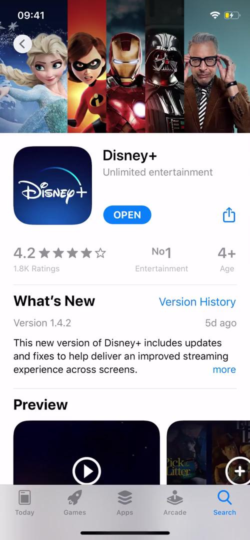 Onboarding on Disney+ video screenshot